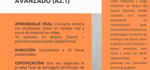 Curso Online Certificado y Acreditado: LENGUA DE SIGNOS AVANZADO (NIVEL A2.1)